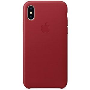 Coque en cuir pour iPhone X - Rouge
