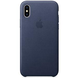 Coque en cuir pour iPhone X - Bleu nuit