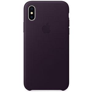 Coque en cuir pour iPhone X - Aubergine