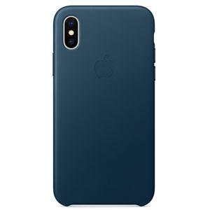 Coque en cuir pour iPhone X - Bleu cosmos