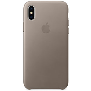 Coque en cuir pour iPhone X - Taupe