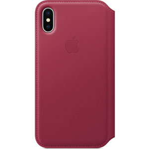 Étui folio en cuir pour iPhone X - Fruits rouges