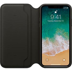 Étui folio en cuir pour iPhone X - Noir