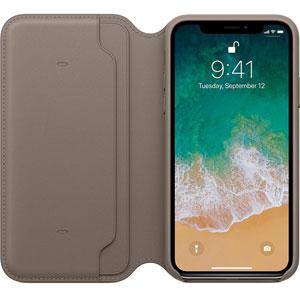 Étui folio en cuir pour iPhone X - Taupe