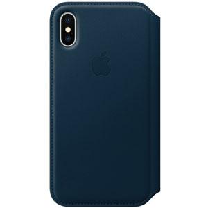 Étui folio en cuir pour iPhone X - Bleu cosmos