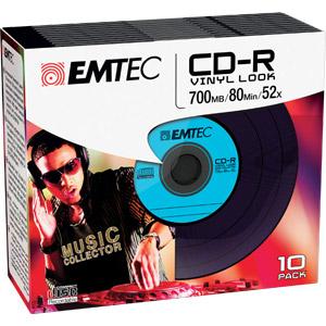 Pack de 10 CD-R 700Mo 52x Vinyl Slim