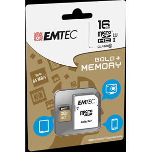 photo microSDHC 16GB Class10 Gold + adaptateur SD