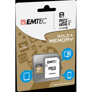 photo microSDHC 8GB Class10 Gold + adaptateur