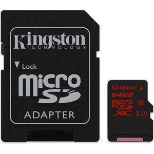 photo 64Go microSD UHS-I Class U3 + Adaptateur SD
