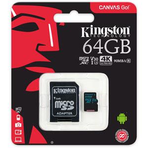 photo Canvas Go! microSD UHS-I U3 - 64Go + Adaptateur SD