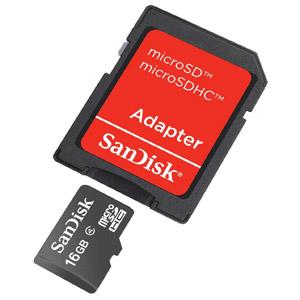 photo microSDHC 16Go Class 2 + Adaptateur SD