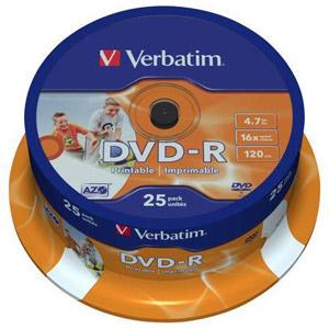 photo Pack de 25 DVD-R 4.7 Go - Surface imprimable photo