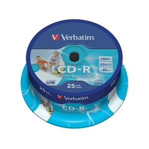 photo Pack de 25 CD-R 52x AZO Wide Inkjet Printable