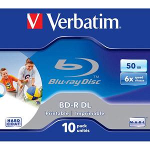 photo Pack de 10 BD-R DL 50GB 6x Wide Printable