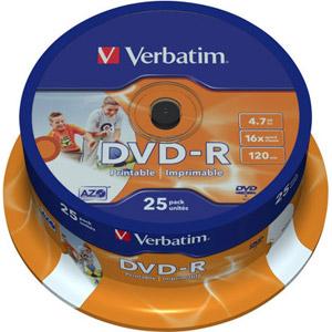photo Pack de 25 DVD-R 16x 4.7Go imprimable