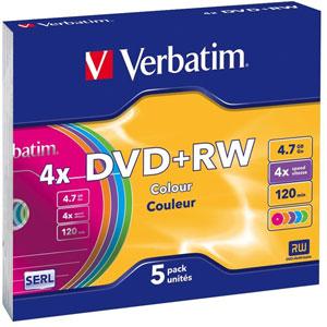 photo Pack de 5 DVD+RW - 4.7Go 4x / Boîtiers slim