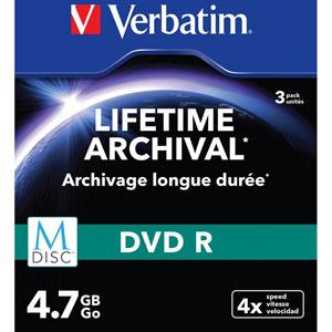 Pack de 3 DVD-R M-Disc - 4.7Go 4x / Boîtiers slim